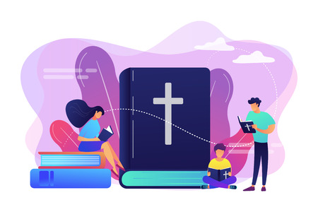 Tiny people christians reading the Holy Bible and learning about Christ. Holy Bible, sacred holy book, the word of God concept. Bright vibrant violet vector isolated illustration Illustration
