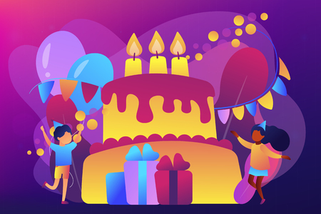 Happy kids at huge cake with candles and gift boxes celebrating birthday party. Kids birthday party, kids party ideas, indoor party spot concept. Bright vibrant violet vector isolated illustration Иллюстрация