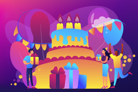 Happy people with gifts celebrating birthday at huge cake. Birthday party supplies, birthday party Invitations, birthday planning concept. Bright vibrant violet vector isolated illustration Иллюстрация