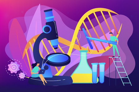 Microscope and scientists change DNA structure. Genetic engineering, genetic modification and genetic manipulation concept on ultraviolet background. Bright vibrant violet vector isolated illustration