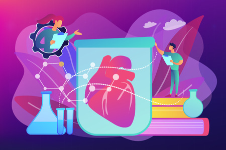 Scientists growing big heart in test tube in the lab. Lab-grown organs, bioartificial organs and artificial organ concept on ultraviolet background. Bright vibrant violet vector isolated illustration