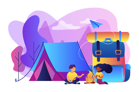 Tiny people kids sitting at campfire and roasting marshmallow near tent and huge backpack. Summer camp, sleepaway camp, kids vacation time concept. Bright vibrant violet vector isolated illustration Stok Fotoğraf - 124639781