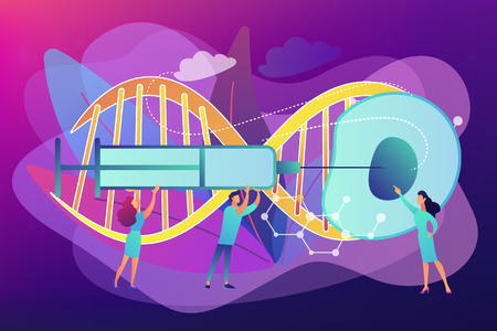 Scientists fertilize cell with syringe. Artificial reproduction, in vitro fertilization, artificial propagation concept on ultraviolet background. Bright vibrant violet vector isolated illustration