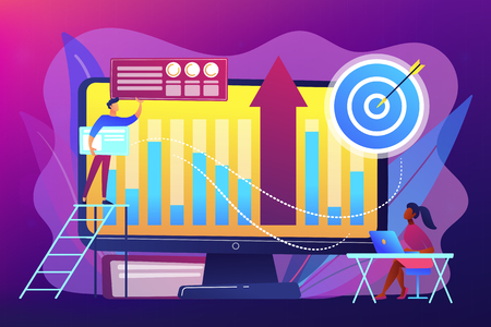 Business intelligence experts transform data into useful information. Business intelligence, business analysis, IT management tools concept. Bright vibrant violet vector isolated illustration