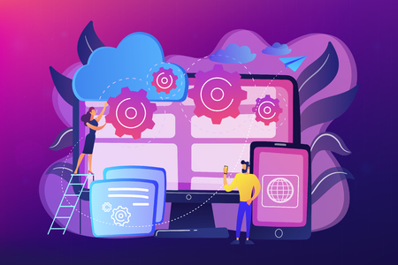 Programmers develop program for platforms. Cross-platform programming, cross-platform development and structure concept on ultraviolet background. Bright vibrant violet vector isolated illustration