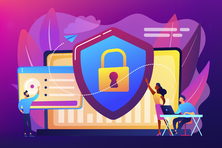Security analysts protect internet-connected systems with shield. Cyber security, data protection, cyberattacks concept on ultraviolet background. Bright vibrant violet vector isolated illustration