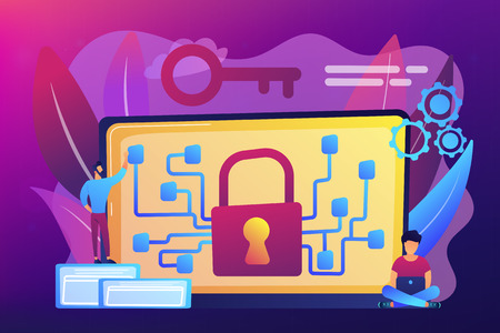 Cryptographic officer and system administrator create algorithm code for key owner of blockchain. Cryptography and encryption algorithm concept. Bright vibrant violet vector isolated illustration Ilustração