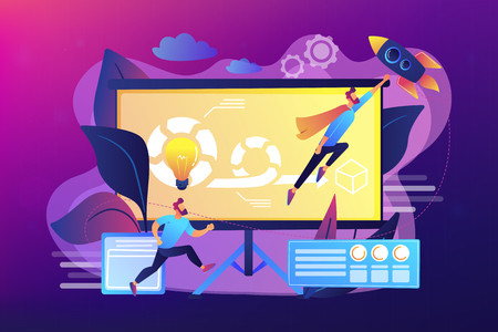 Development team member and scrum master working on Agile project for product ownerand stakeholders. Agile project management concept. Bright vibrant violet vector isolated illustration Illustration