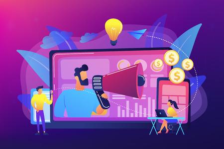Marketer deliver ads with megaphone and devices. Cross-device marketing, cross-device marketing analysis, strategy concept on ultraviolet background. Bright vibrant violet vector isolated illustration Illusztráció