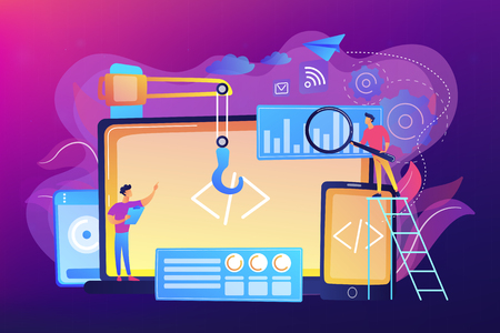 Engineer and developer with laptop and tablet code. Cross-platform development, cross-platform operating systems and software environments concept. Bright vibrant violet vector isolated illustration