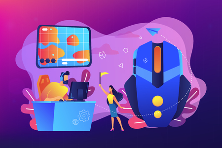 Gamer at computer using tactics to play online strategy game. Strategy online games, real-time strategy, multiplayer strategic warfare concept. Bright vibrant violet vector isolated illustration