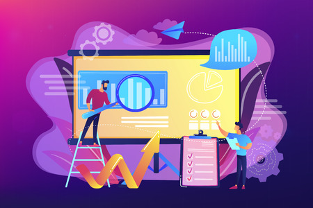 Workgroup admit and identify, measure and prioritize, implement a strategy. Risk management team, risk management training and objective concept. Bright vibrant violet vector isolated illustration