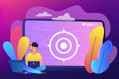 Gamer in headset with laptop recording video game walkthrough. Video game walkthrough, popular video content, gaming video stream concept. Bright vibrant violet vector isolated illustration Ilustração
