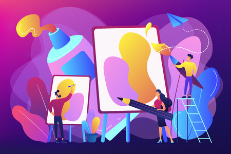 Group of people practicing new painting skills at painting workshop with equipment. Workshop, workshop session, practicing new skills concept. Bright vibrant violet vector isolated illustration