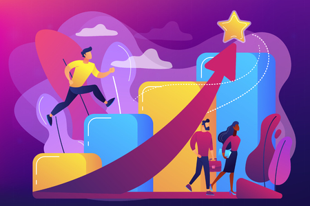 Successful businessman running up the career stairs and rising arrow to a star. Career growth, careerbuilder, career development concept. Bright vibrant violet vector isolated illustration 写真素材 - 124608106