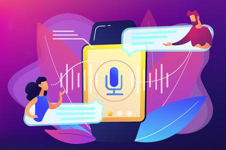 Users translating speech with smartwatch. Digital translator, portable translator, electronic language translator concept on ultraviolet background. Bright vibrant violet vector isolated illustration