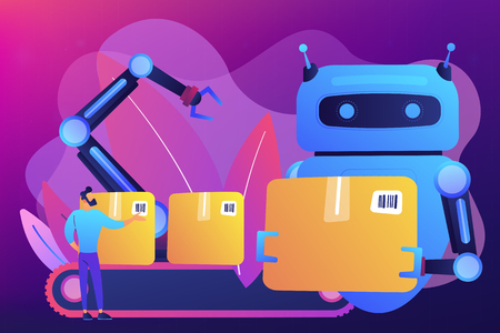 Robot substituting human working with boxes on conveyor belt and robotic arm. Labor substitution, man versus robot, robotics labor control concept. Bright vibrant violet vector isolated illustration