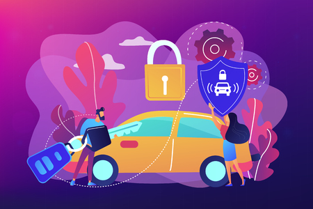 Businessman with car remote key and woman with shield at car with padlock. Car alarm system, anti-theft system, vehicle thefts statistics concept. Bright vibrant violet vector isolated illustration