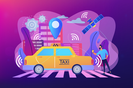 Businessman with smartphone taking driverless taxi with sensors and location pin. Autonomous taxi, self-driving taxi, on-demand car service concept. Bright vibrant violet vector isolated illustration