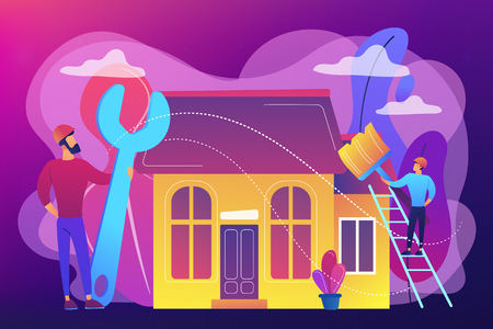 Handyman with big wrench repairing house and painting with paintbrush. DIY repair, do it yourself service, self-service learning concept. Bright vibrant violet vector isolated illustration