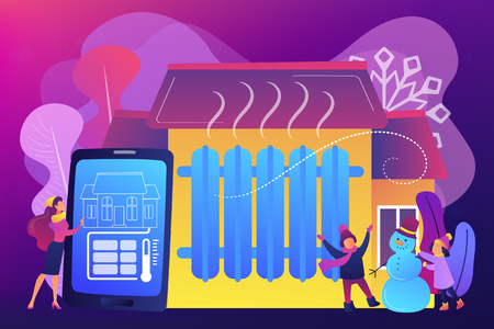 Businesswoman controlling smart home heating with smartphone in winter. Heating system, home heating technologies, home energy economy concept. Bright vibrant violet vector isolated illustration