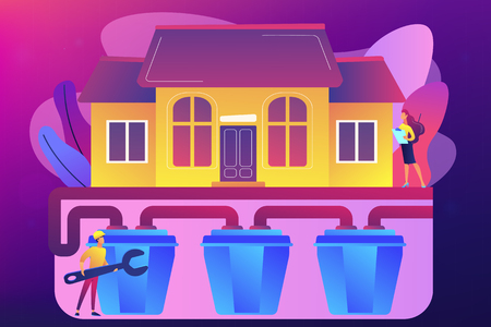 House with sewerage system and plumbing specialist with wrench. Sewerage system, domestic wastewater service, sewer system technologies concept. Bright vibrant violet vector isolated illustration