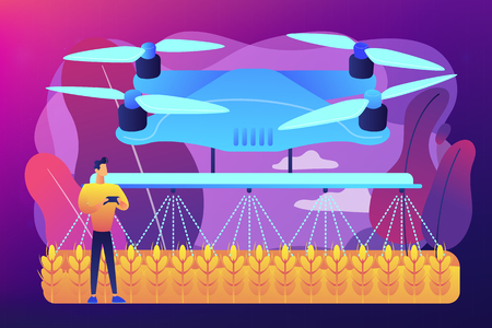 Smart farmer controlling agriculture drone spraying or watering crops. Agriculture drone use, precision farming, new agriculture trend concept. Bright vibrant violet vector isolated illustration