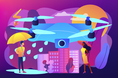 Drone over the city collecting meteorological data. Meteorology drones, meteorological data collection, accurate weather prediction concept. Bright vibrant violet vector isolated illustration 向量圖像