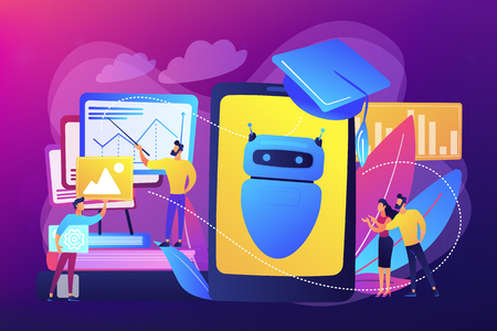 Programmers with charts make chatbot learn data from past results. Chatbot self learning, virtual assistants learning, AI machine learning concept. Bright vibrant violet vector isolated illustration Çizim