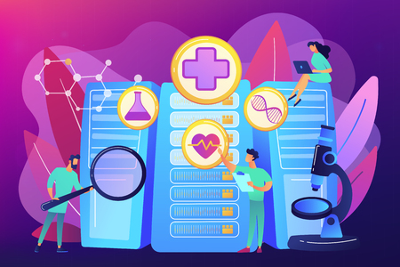 Doctors and personalized prescriptive analytics. Big data healthcare, personalized medicine, big data patient care, predictive analytics concept. Bright vibrant violet vector isolated illustration Illustration