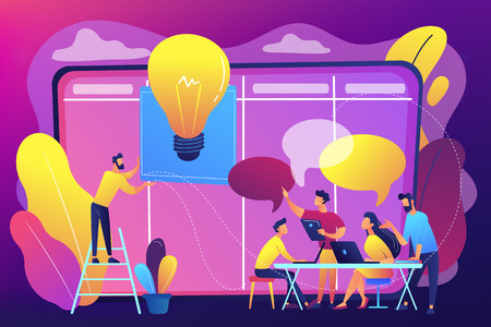 Managers at workshop training manager skills and brainstorming at board. Managers workshop, supervisors course, management skills training concept. Bright vibrant violet vector isolated illustration