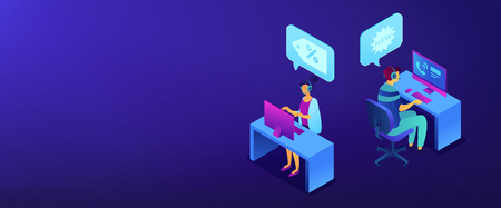 Operators with headsets calling potential customers to support or make a sale. Cold calling, old school marketing, telemarketing sales concept. Isometric 3D banner header template copy space.