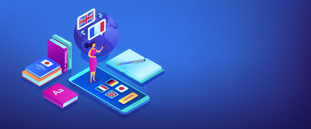 Tutor standing on smartphone and teaching foreign languages. Online language school, recorded digital class, online language tutor concept. Isometric 3D banner header template copy space.