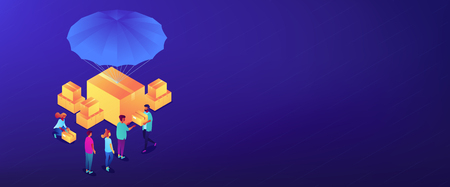 Volunteers giving humanitarian aid boxes delivered with parachute to refuges. Humanitarian aid, material assistance, governmental help concept. Isometric 3D banner header template copy space.