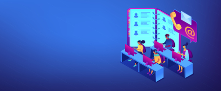 Customer service operators in headsets, phone and email contacts. Contact center, customer service point, customer relationship management concept. Isometric 3D banner header template copy space.
