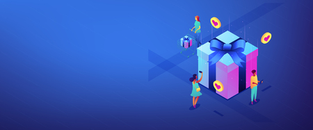 Buyers with gadgets at huge gift box choose best presents to buy online. Online mobile catalog, choosing gift idea, gift finder application concept. Isometric 3D banner header template copy space. Çizim