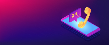 Mobile phone with handset and customer service available 24 7. Mobile customer service, 24 7 customer support, mobile self-service concept. Isometric 3D banner header template copy space.