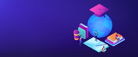 Students studying online among books and globe in graduation cap. Global online education, e-learning tools, internet training webinar concept. Isometric 3D banner header template copy space.