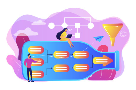 Tiny business people at bottle looking for system least capacity. Bottleneck analysis, bottlenecking control, workflow improvement concept. Bright vibrant violet vector isolated illustration Ilustrace
