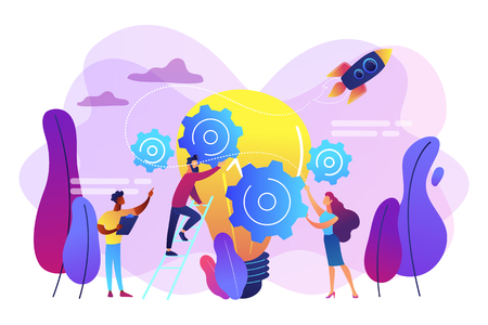 Tiny business people generating ideas and holding gears at big light bulb. Idea management, alternative thinking, best solution choice concept. Bright vibrant violet vector isolated illustration