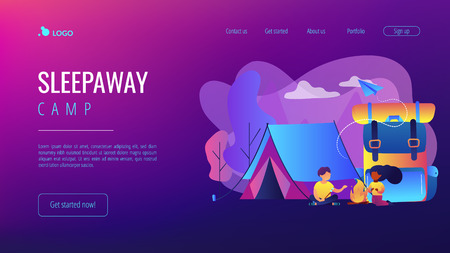 Tiny people kids sitting at campfire and roasting marshmallow near tent and huge backpack. Summer camp, sleepaway camp, kids vacation time concept. Website vibrant violet landing web page template.