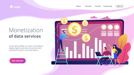 Data monetization concept landing page.