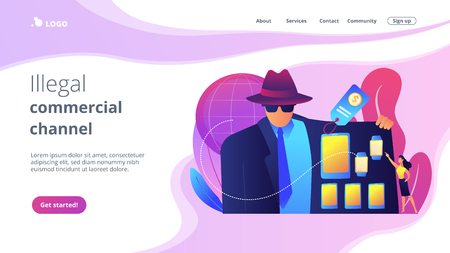 Retailer in raincoat sells digital devices to customer, tiny people. Gray market, electronics parallel market, illegal commercial channel concept. Website vibrant violet landing web page template. 일러스트