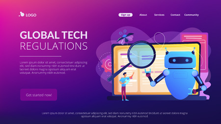 Artificial intelligence regulations concept landing page. Ilustrace