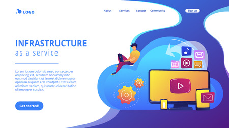 Digital devices and businessman with laptop on cloud using IaaS. Cloud based engine, infrastructure as a service, virtual machine on demand concept. Website vibrant violet landing web page template.