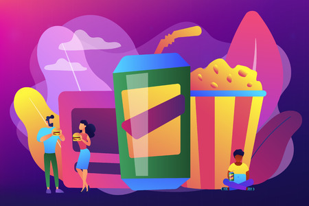 Snacking non-stop concept vector illustration. Illustration