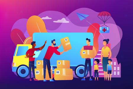 Humanitarian aid concept vector illustration. Ilustracja