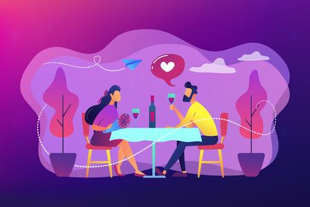 Romantic date concept vector illustration.