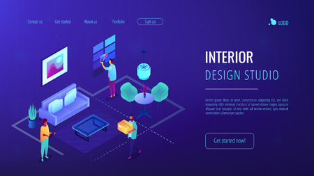 Interior design isometric 3D landing page. 向量圖像