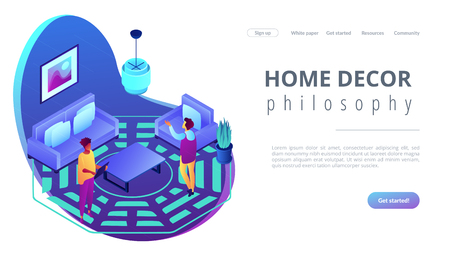 Feng shui interior isometric 3D landing page.
